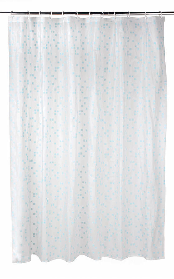 Beldray Pixel Shower Curtain with Hooks, 180 x 180cm, PEVA, White