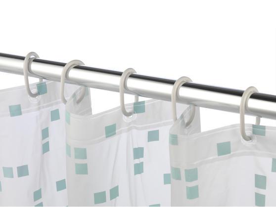 Beldray Pixel Shower Curtain with Hooks, 180 x 180cm, PEVA, White Thumbnail 4
