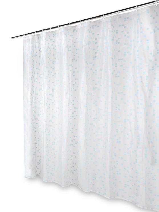 Beldray Pixel Shower Curtain with Hooks, 180 x 180cm, PEVA, White Thumbnail 5
