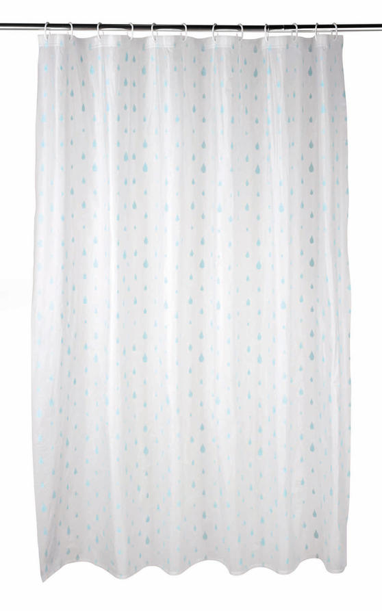 Beldray Raindrops Shower Curtain with Hooks, 180 x 180cm, PEVA, White/Aqua Thumbnail 1