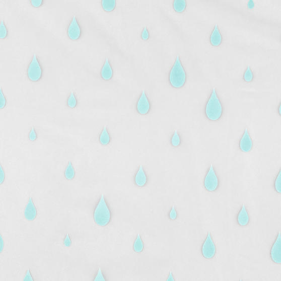 Beldray Raindrops Shower Curtain with Hooks, 180 x 180cm, PEVA, White/Aqua Thumbnail 3