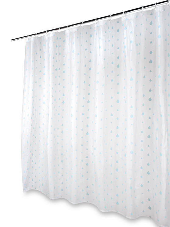 Beldray Raindrops Shower Curtain with Hooks, 180 x 180cm, PEVA, White/Aqua Thumbnail 5