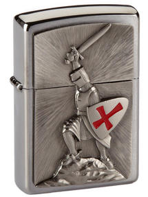 Zippo Crusade Victory Emblem Windproof Pocket Lighter, Brushed Chrome