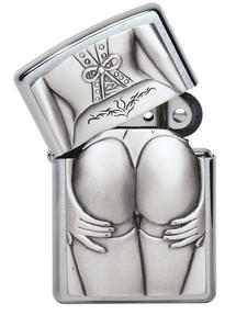 Zippo Unisex Adult Sexy Stocking Girl Emblem Windproof Pocket Lighter, Brushed Chrome