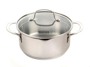Thomas Rosenthal Cook & Pour Casserole Pot with Glass Lid, 20cm, 2.8 Litre, Stainless Steel Thumbnail 1