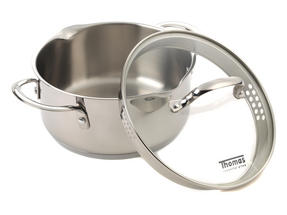 Thomas Rosenthal Cook & Pour Casserole Pot with Glass Lid, 20cm, 2.8 Litre, Stainless Steel Thumbnail 3
