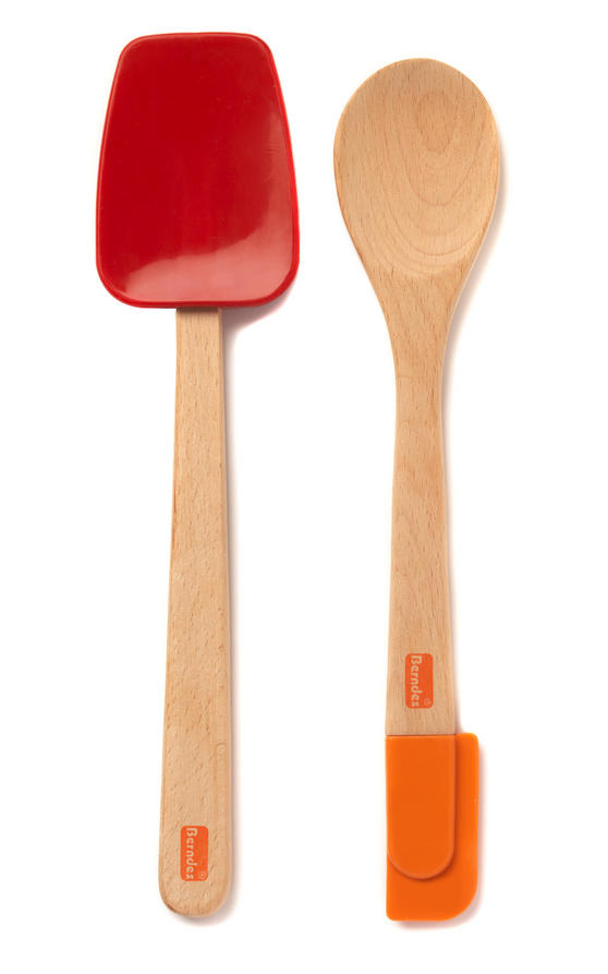 Berndes Wooden Spoon and Spatula Utensil Set with Removable Silicone Heads