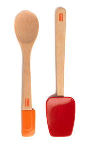 Berndes Wooden Spoon and Spatula Utensil Set with Removable Silicone Heads Thumbnail 2