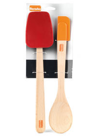 Berndes Wooden Spoon and Spatula Utensil Set with Removable Silicone Heads Thumbnail 7