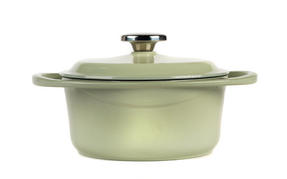 Berndes Round Casserole Dish with Lid, 20cm, 2.4 Litre, Cast Iron, Green Thumbnail 2