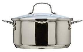 Thomas Rosenthal Cook & Pour Casserole Pot with Glass Lid, 24cm, 4.7 Litre, Stainless Steel Thumbnail 1