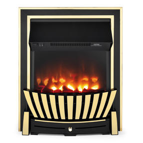 Beldray EH2352 Almada Premium Inset and Free Standing Electric Fire, 2000 W, Brass