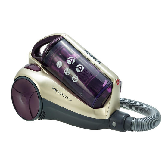 Hoover RE71VE20001 Velocity Bagless Cylinder Vacuum Cleaner, 2.5 Litre, 700 W, Purple and Champagne
