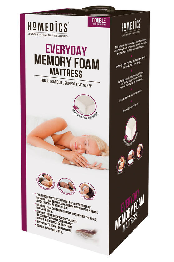 Homedics MFHE04173 Everyday Memory Foam Mattress, Double
