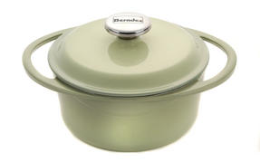 Berndes Round Casserole Dish with Lid, 20cm, 2.4 Litre, Cast Iron, Green Thumbnail 1