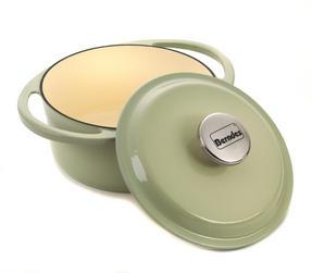 Berndes Round Casserole Dish with Lid, 20cm, 2.4 Litre, Cast Iron, Green Thumbnail 3
