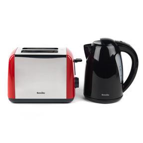 Breville Black 1.5 Litre Plastic Jug Kettle and Red 2 Slice Toaster Set Thumbnail 1