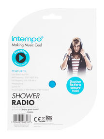 Intempo Teardrop Shower Radio, Dual Band AM/FM, Blue Thumbnail 6