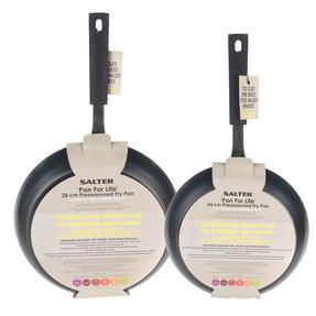 Salter Pan For Life 24/28cm Frying Pans, Black Thumbnail 5