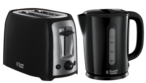 Russell Hobbs Darwin Kettle and 2 Slice Toaster Set, Black/Silver