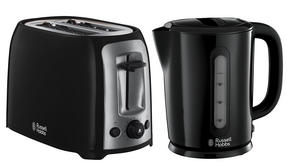 Russell Hobbs Darwin Kettle and 2 Slice Toaster Set, Black/Silver Thumbnail 1