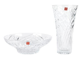 RCR Melodia Crystal Glass Centrepiece Bowl and Vase Set Thumbnail 1