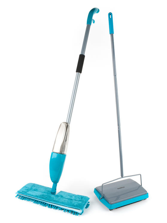 Beldray Hard Floor & Carpet Cleaning Set with Double Sided Spray Mop and Carpet Sweeper, Turquoise