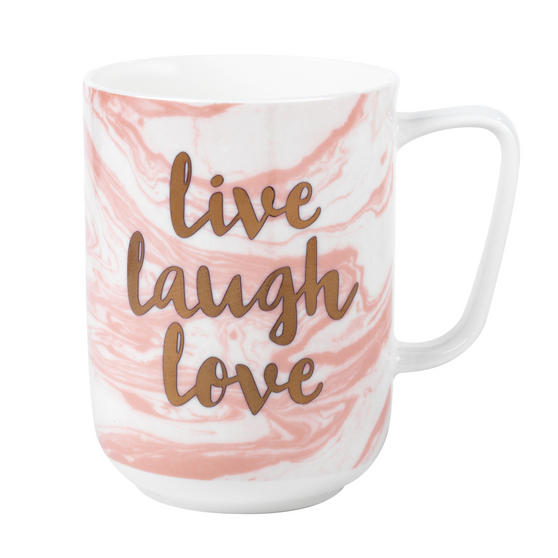 Portobello Devon Marble Live Laugh Love Bone China Mug, Pink and Gold