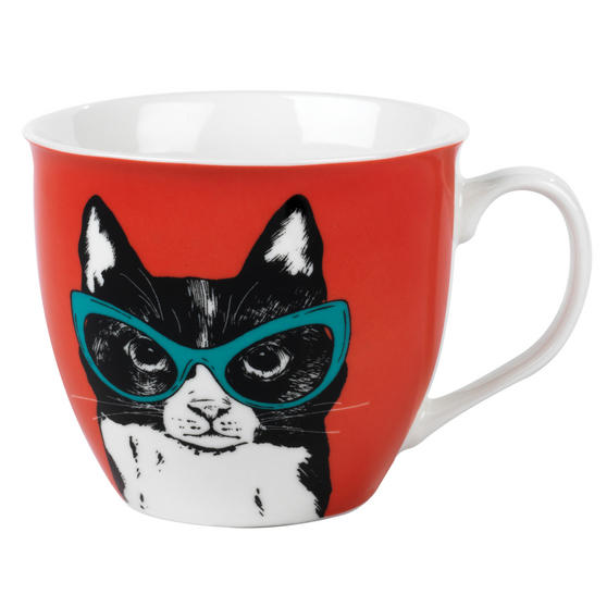 Cambridge CM05491 Oxford Cat In Glasses Fine Bone China Mug , Red