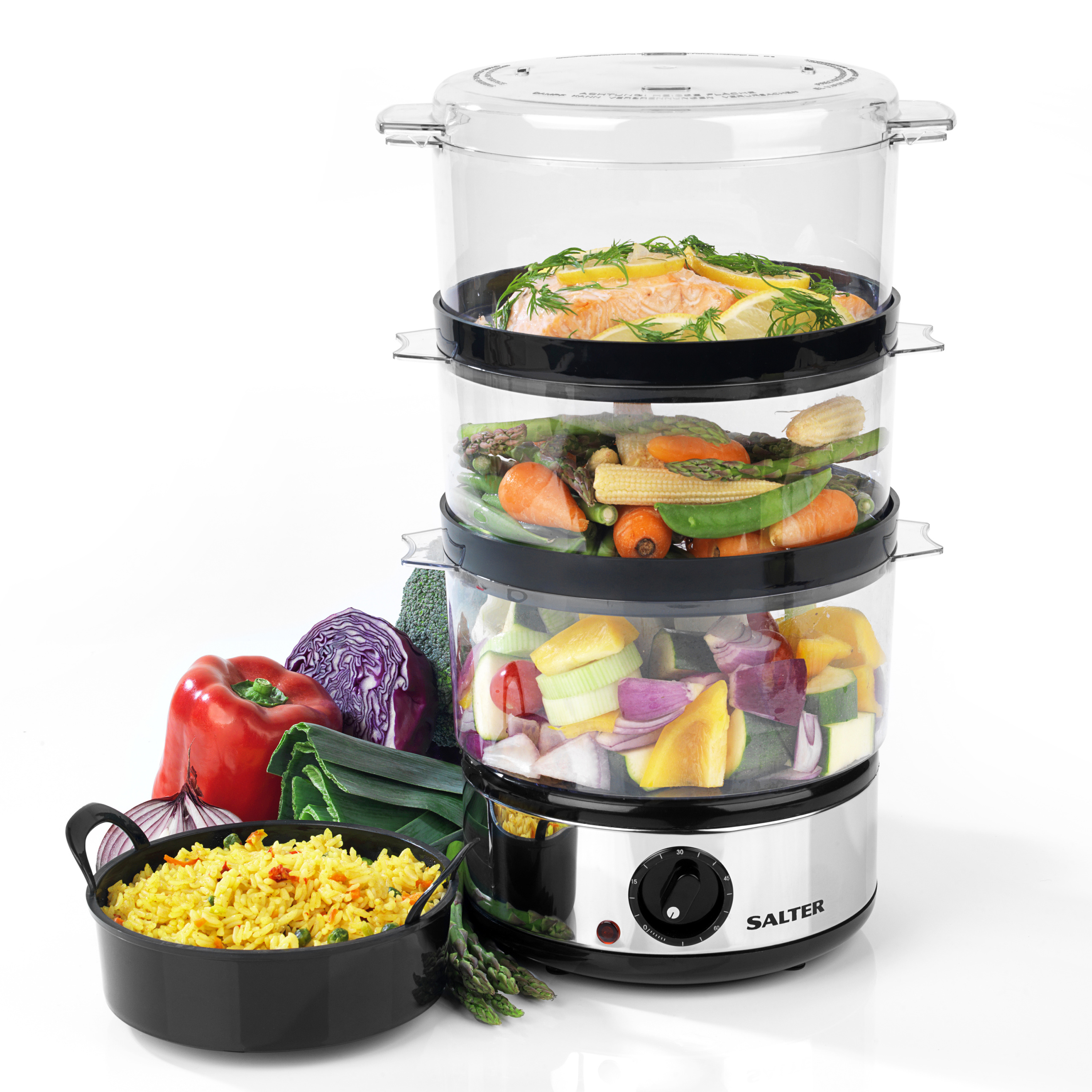 Captivating Salter Healthy Cooking 3 Tier Food Rice Meat Vegetable Steamer, 7 Litre, 400