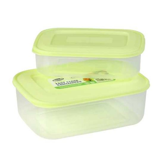 2 Pack Easy Close Containers. 2L & 1L Capacity