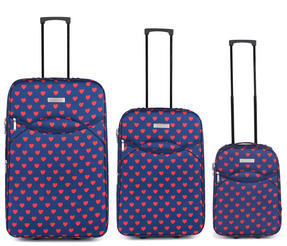 Constellation Eva 3 Piece Suitcase Set, 18/24/28?, Heart Print, Navy Thumbnail 2