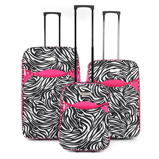 "Constellation Eva 3 Piece Suitcase Set, 18"", 24"" & 28"", Zebra Print, Pink"