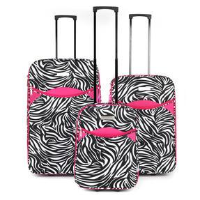 "Constellation Eva 3 Piece Suitcase Set, 18"", 24"" & 28"", Zebra Print, Pink Thumbnail 1"