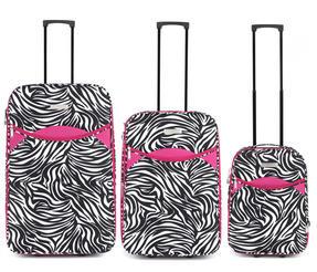 "Constellation Eva 3 Piece Suitcase Set, 18"", 24"" & 28"", Zebra Print, Pink Thumbnail 2"