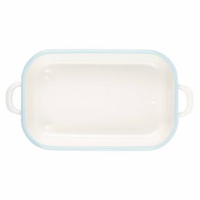 Salter Enamel Coated Roasting Tin, 26cm, Cream/Blue