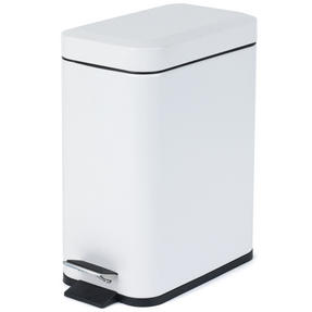 Salter Rectangular Kitchen Bathroom Pedal Bin, 5 Litre, White