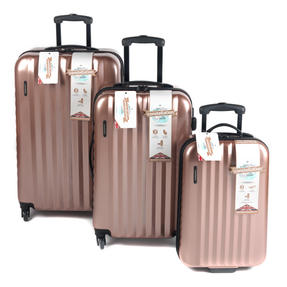 """Constellation Athena ABS Hard Shell 3 Piece Suitcase Set, 20"""", 24"""" & 28"""", Rose Gold"""