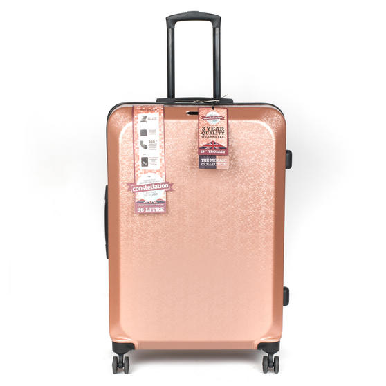 "Constellation Mosaic Effect ABS Hard Shell Large Suitcase, 28"", Rose Gold"