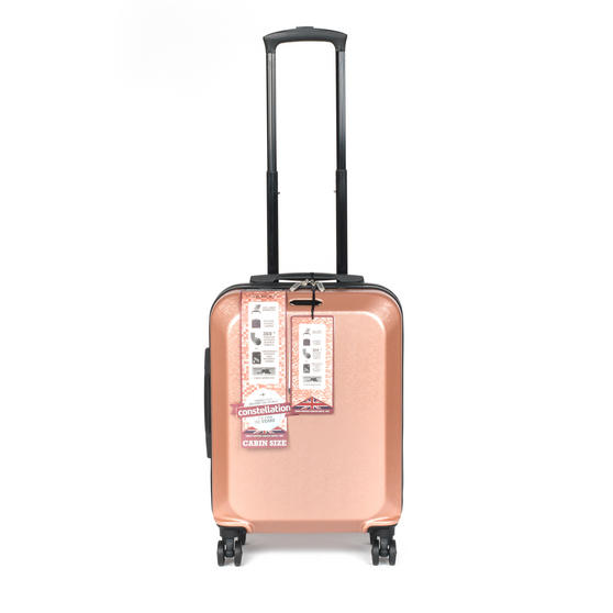 "Constellation Mosaic Effect ABS Hard Shell Small Cabin Approved Suitcase, 20"", Rose Gold"
