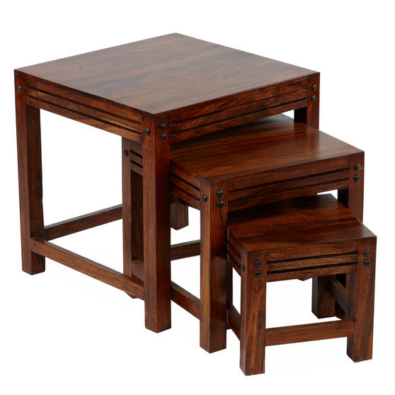 Sheesham SRF108395AR Nest of Coffee Tables, Wood, Set of Three