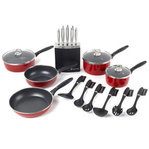 Russell Hobbs 5 Piece Red Pan Set, 6 Piece Utensil Set and 5 Piece Knife Block Mail Order Boxed