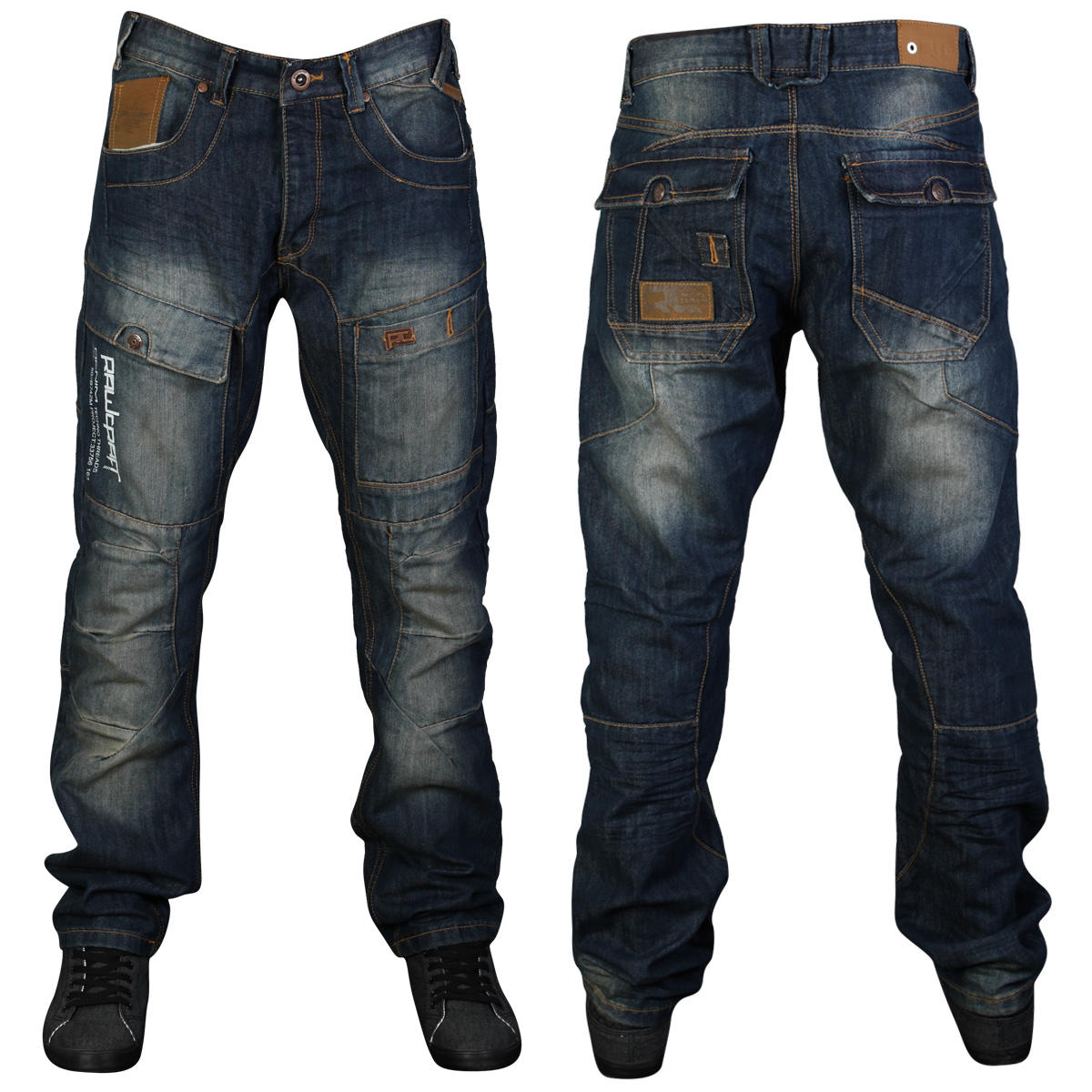 NEW MENS BLUE RAWCRAFT TATER VB DESIGNER TAPERED FIT JEANS ALL ...