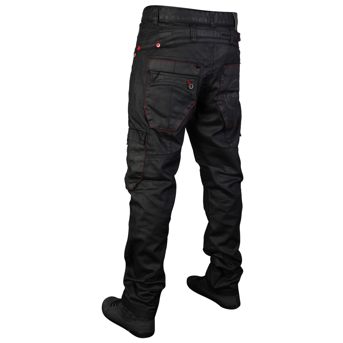 MENS BLACK RAWCRAFT STRAIGHT FIT LETO DESIGNER DENIM JEANS ALL