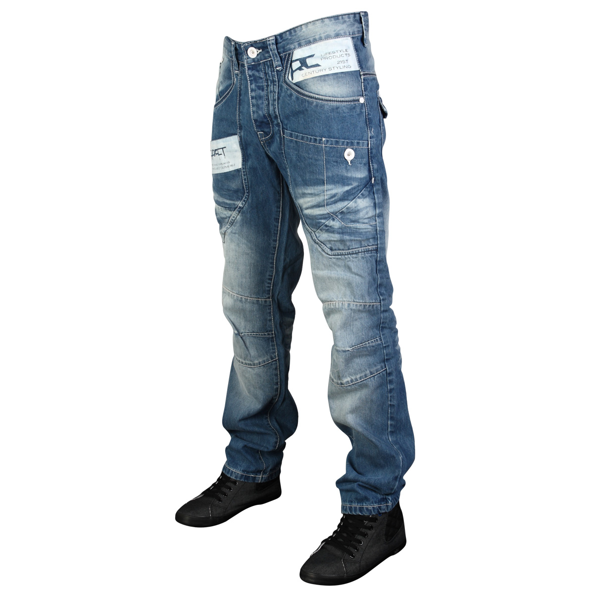 MENS LOOSE FIT BLUE DENIM RAWCRAFT BEXLEY DESIGNER JEANS ALL WAIST ...