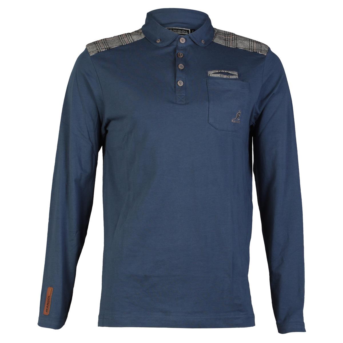 New Mens Kangol K606686c Designer Long Sleeved Tweed Polo