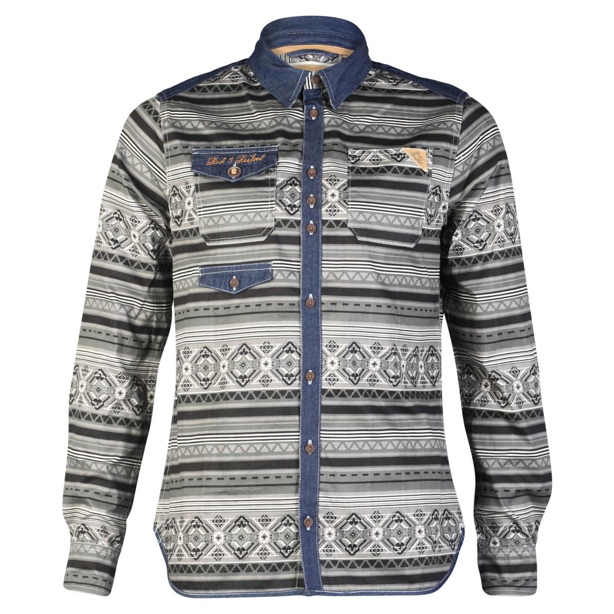 Mens rock revivial r605392c aztec pattern designer long for Patterned dress shirts for men