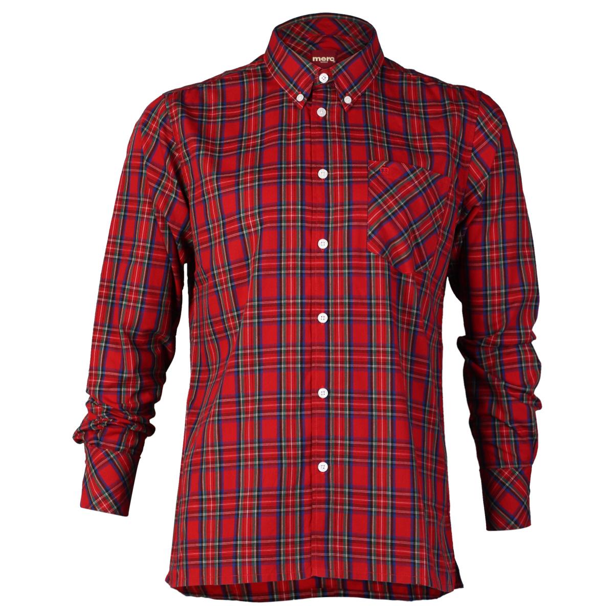 new mens merc neddy checked tartan long sleeve button up