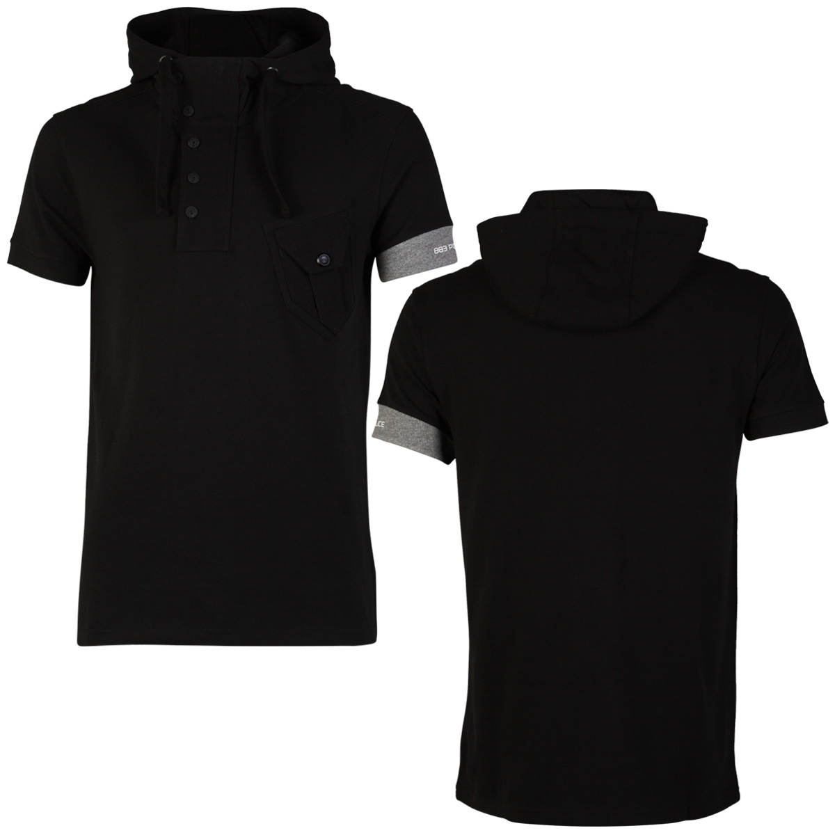 NEW MENS 883 POLICE HENDERSON BLACK HOODED BUTTON UP T-SHIRT TOP ...