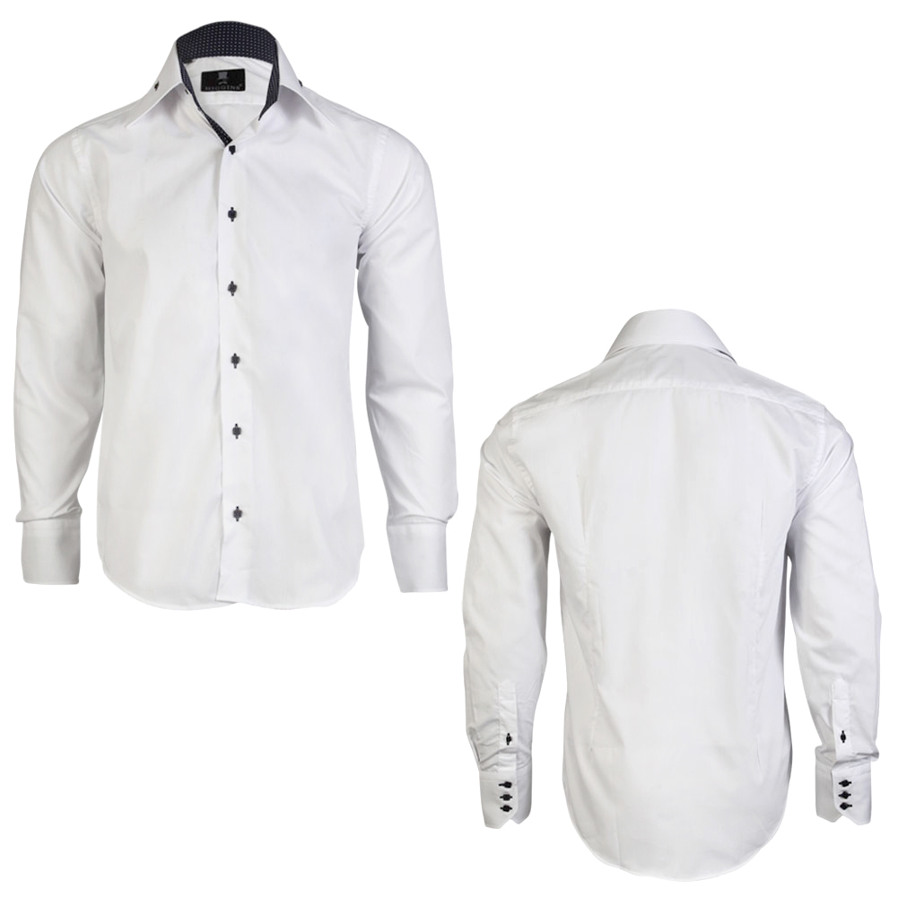 Mens Black Shirt With White Buttons - Greek T Shirts